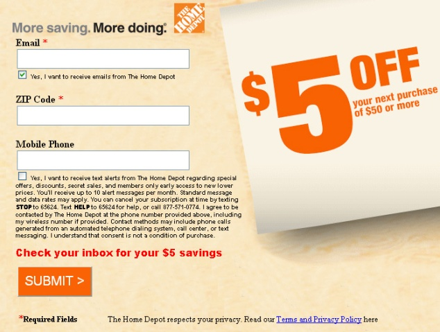 print home depot coupon